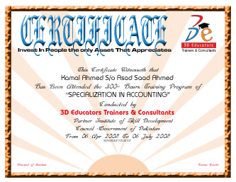 Final Certification Awarded by 3D EDUCATORS